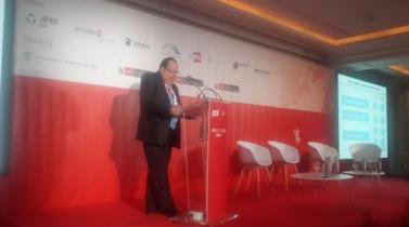 Presidente del BCR, Julio Velarde, expone en el Road Show inPerú Europa 2014. (Foto: Javier Parker)