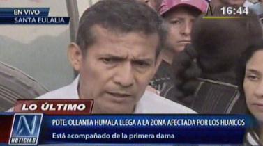 El presidente Humala pidió a las familias ya no construir sus hogares en zonas de alto riesgo.