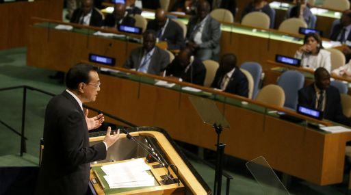 El primer ministro de China, Li Keqiang, en su discurso en Naciones Unidas. (Foto: Reuters)