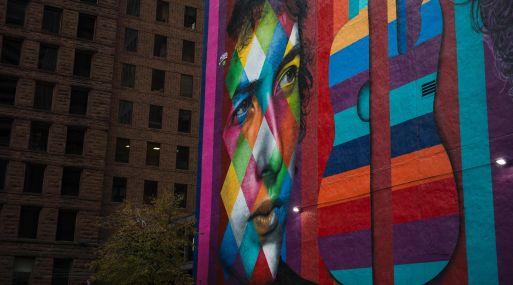 Mural de Bob Dylan en Minnesota. (AFP)