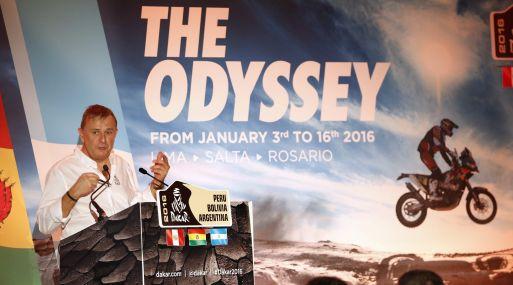 (París) Director del rally Dakar, Etienne Lavigne, anunció la ruta del rally Dakar 2016. (Reuters)