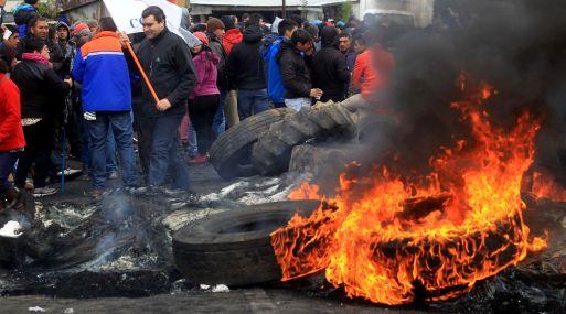 Protestas de pescadores chilenos. (Foto: AFP)