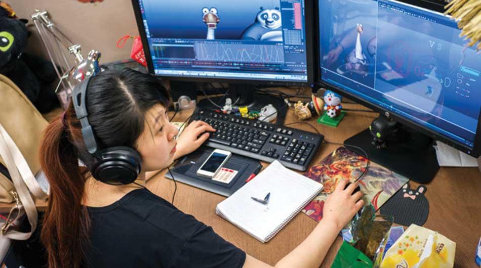 trabajadores, estudio, mujer, Animación