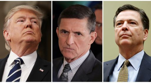 Donald Trump, Michael Flynn y James Comey. (Foto: Reuters)
