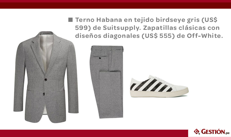 moda masculina, terno, calzado deportivo