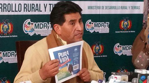 El ministro de Desarrollo Rural y Tierras de Bolivia, César Cocarico, se refirió al caso Pura Vida. (Foto: La Razón).