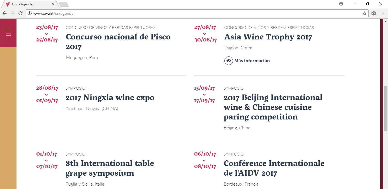 El Concurso Nacional del Pisco es reconocido por la OIV y el Concurso de Bruselas de Chile no