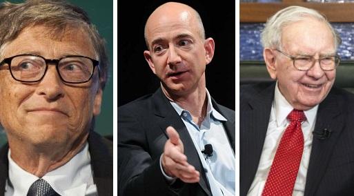 Bill Gates, Jeff Bezos y Warren Buffet lideran la lista de la revista Forbes. (Foto: Reuters)