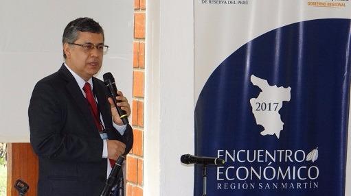 Adrián Armas, gerente central de Estudios Económicos del BCR, inauguró Encuentro Económico en San Martín. (Foto: BCR)