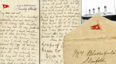 Subastan carta escrita antes de que el Titanic se hundiera