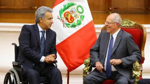 Los mandatarios de Ecuador y Perú. (Foto: Andina).