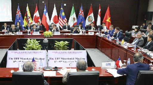 Reunión con los representantes de los once países integrantes del Acuerdo Transpacífico (foto: Reuters).