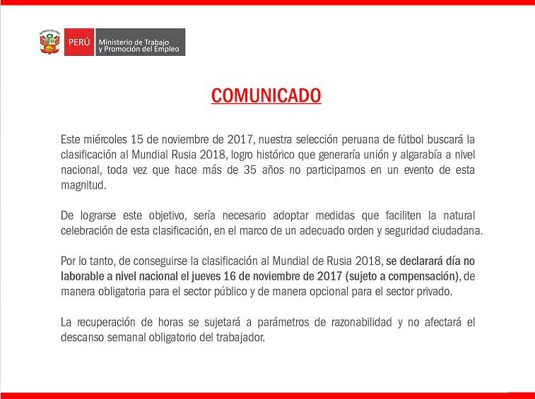 En Perú declararán día no laborable en caso que clasifique al Mundial
